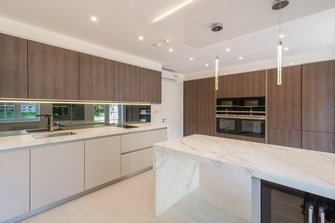 Modern kosher kitchen north london brown woodgrain jpg