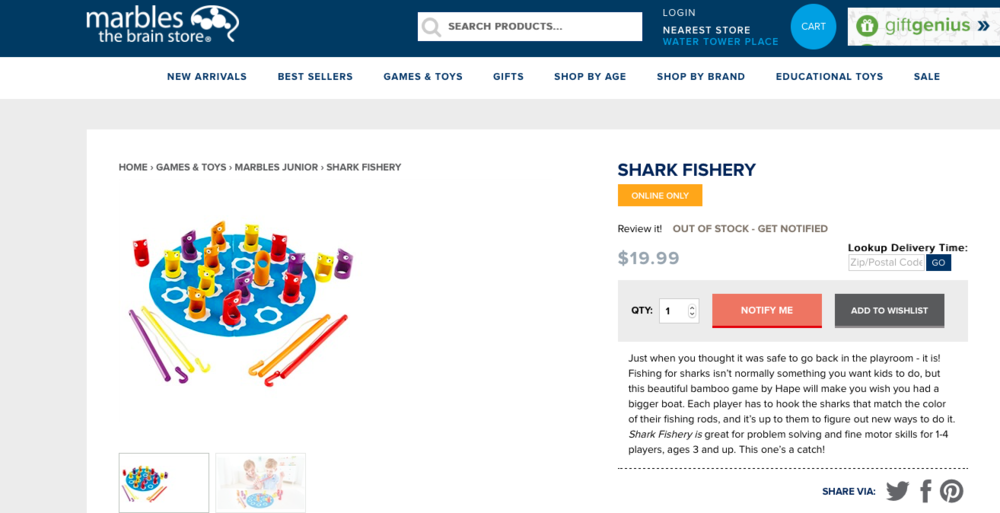"""Just when you thought it was safe to go back in the playroom - it is! Fishing for sharks isn't normally something you want kids to do, but this beautiful bamboo game by Hape will make you wish you had a bigger boat. Each player has to hook the sharks that match the color of their fishing rods, and it's up to them to figure out new ways to do it.  Shark Fishery is  great for problem solving and fine motor skills for 1-4 players, ages 3 and up. This one's a catch!"""
