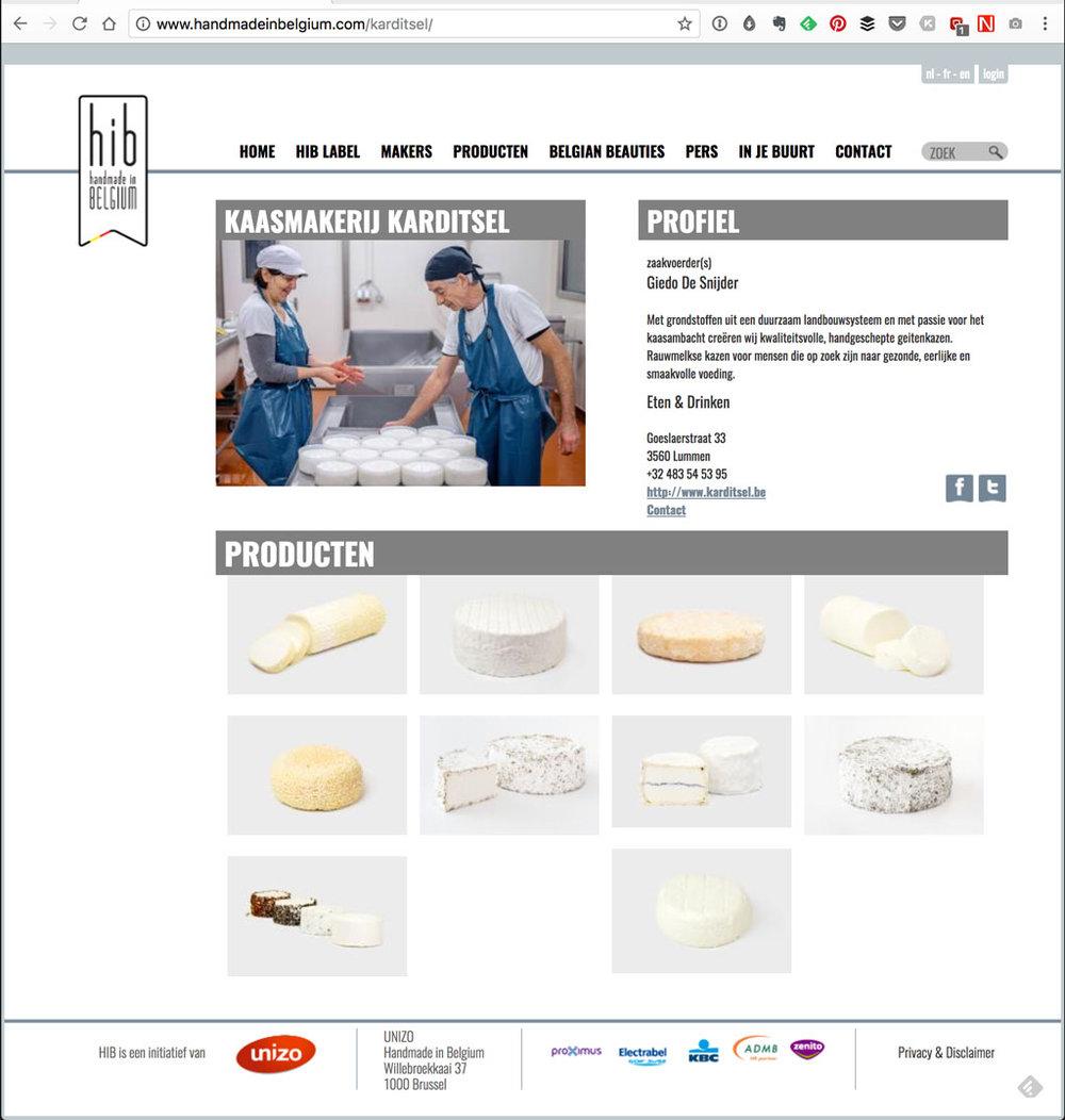 Profielpagina van Karditsel op handmadeinbelgium.com