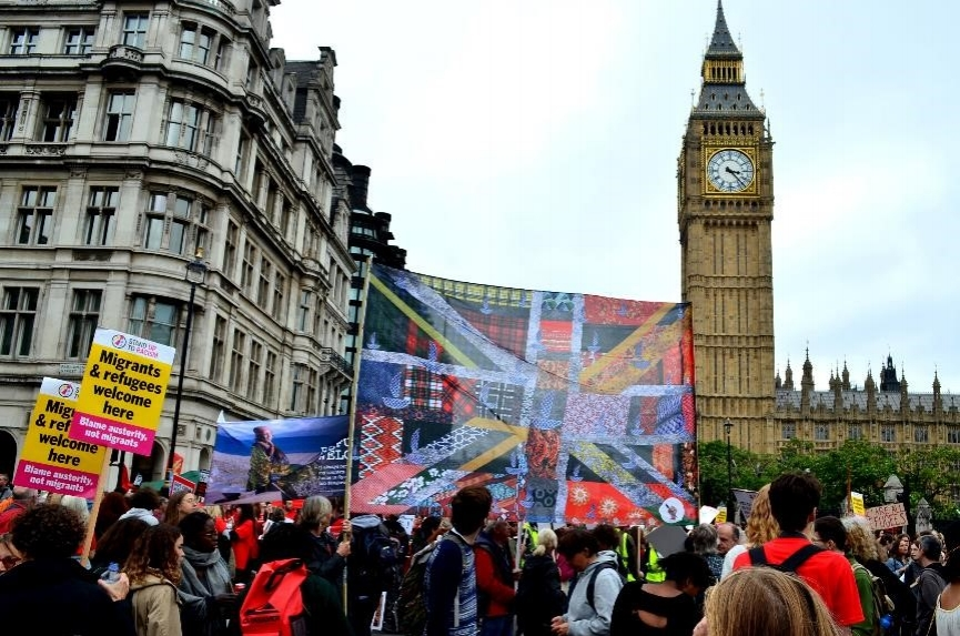 "The NU Flag at ""Refugee Are Welcome"" march, London 2016"