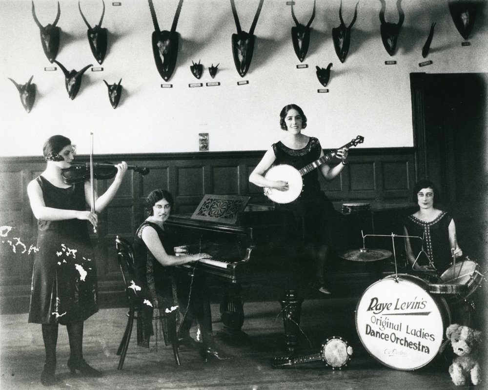 Jillian Edelstein's great aunts Rosie (drums) and Raye Levin (piano), taken in Cape Town in the early 1930s, members of (as inscribed on the bass drum) Raye Levin's Original Ladies Dance Orchestra.