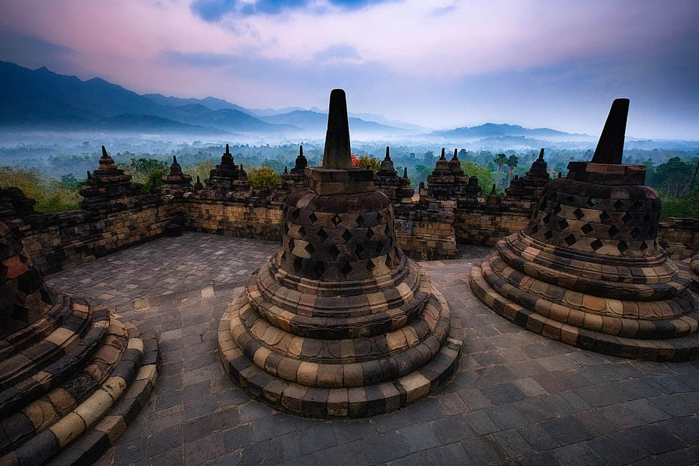 Borobudur   The incredible temple of Borobudur at sunrise. Central Java.