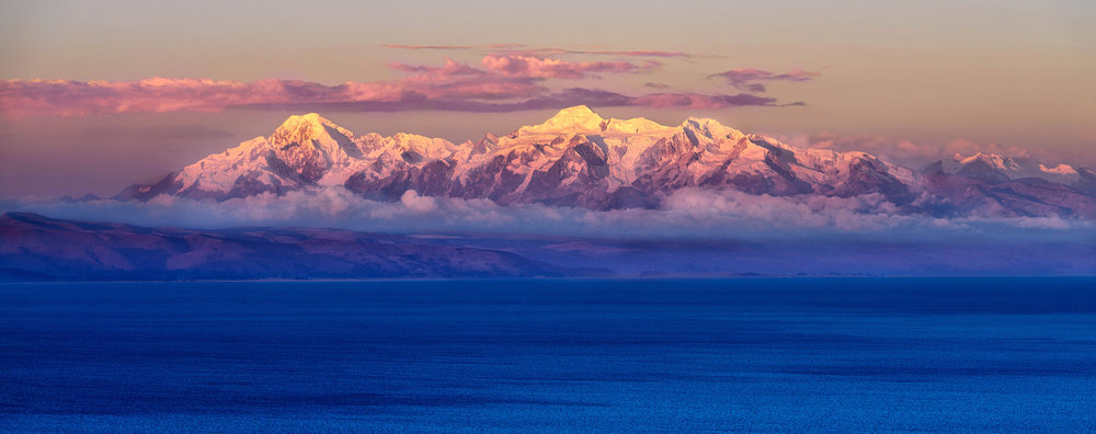 Cordillera Real    The peaks of Illampu and Ancohuma in the Cordillera Real at sunset from Isla del Sol, Lake Titicaca