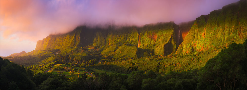 Flores Sunset   Waterfalls tumble down the cliffs above Faja Grande on the west coast of Flores in the Azores at sunset
