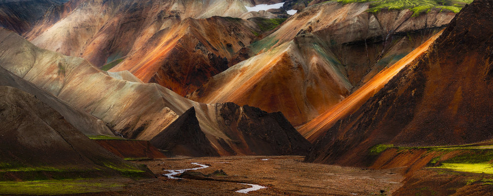 Brennisteinsalda   The colourful rhyolite hills on the Brennisteinsalda trail, near Landmannalauger in the Icelandic Highlands