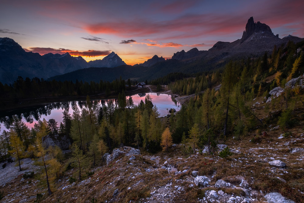 Croda da Lago Sunrise   A few moments before the sun came over the peaks on the Croda da Lago trail in the Dolomites.