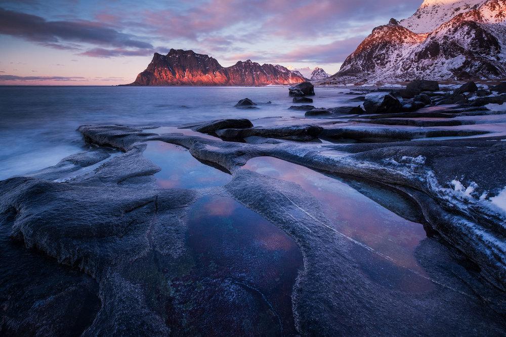Uttakleiv   Last light of day at Uttakleiv beach in the Lofoten Islands, Norway