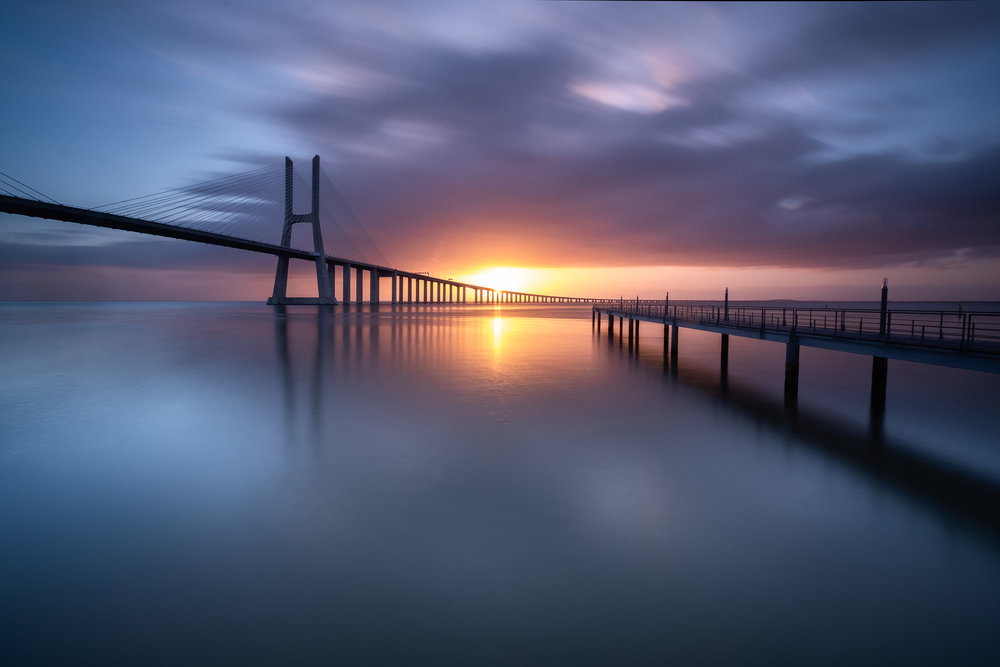 Vasco da Gama Dawn   The first light of morning at Vasco da Gama bridge in Lisbon, Portugal