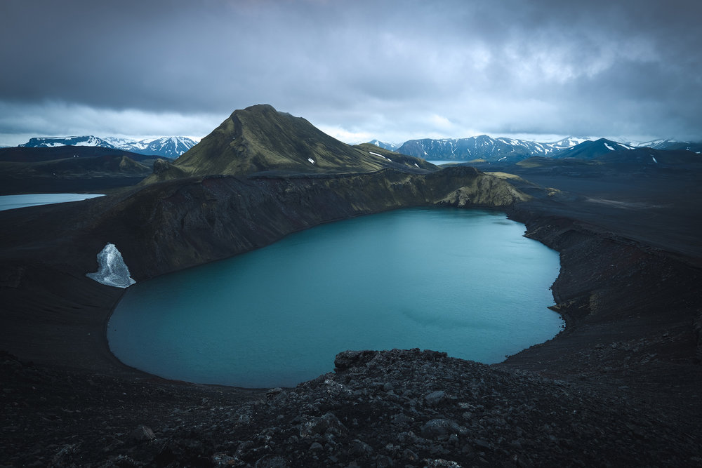 Hnausapollur Crater   The incredible blue water of the Hnausapollur crater lake in the Iceland Higlands. I scrambled up here sometime before sunrise on the recent Iceland workshop to get an elevated view of this awesome place. Photos can't really do justice to how big this lake is, nor how up were to shoot it.