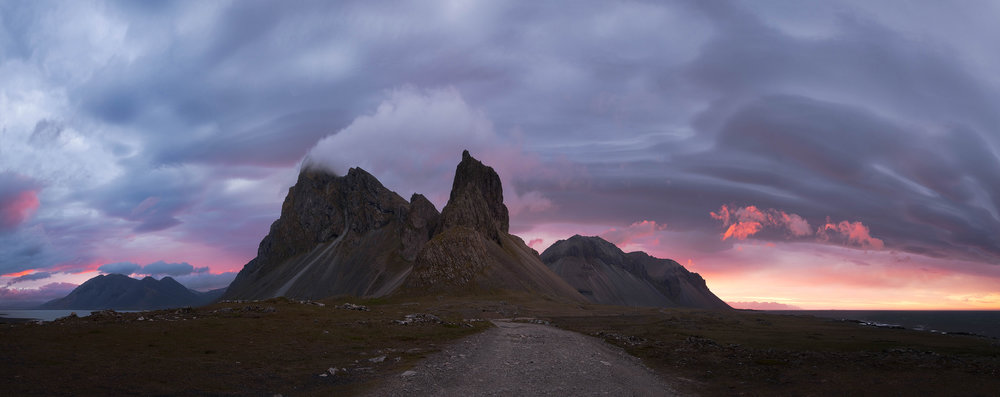 The peaks of the Estrahorn at sunset.