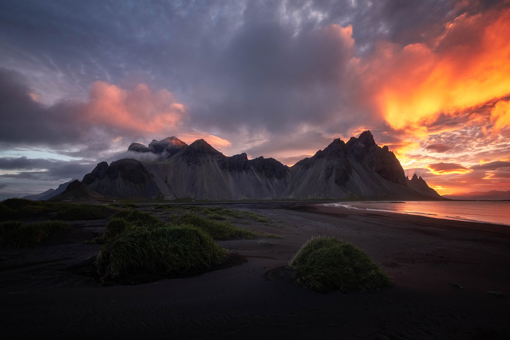 An explosion of colour at sunrise at the Vestrahorn