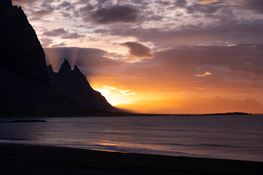 The sun's first light around the peaks of the Vestrahorn