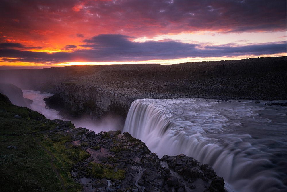 Pre-dawn at the huge falls of Dettifoss.  Below are a few abstract images showing the huge volume and the power of the water there,