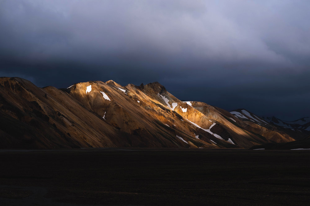 The last light of day on the rhyolite hills of Landmannalaugar