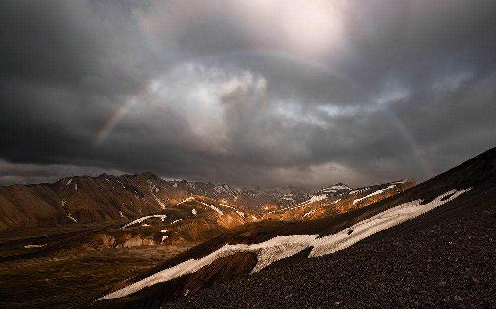 A rainbow above the peaks of Landmannalaugar