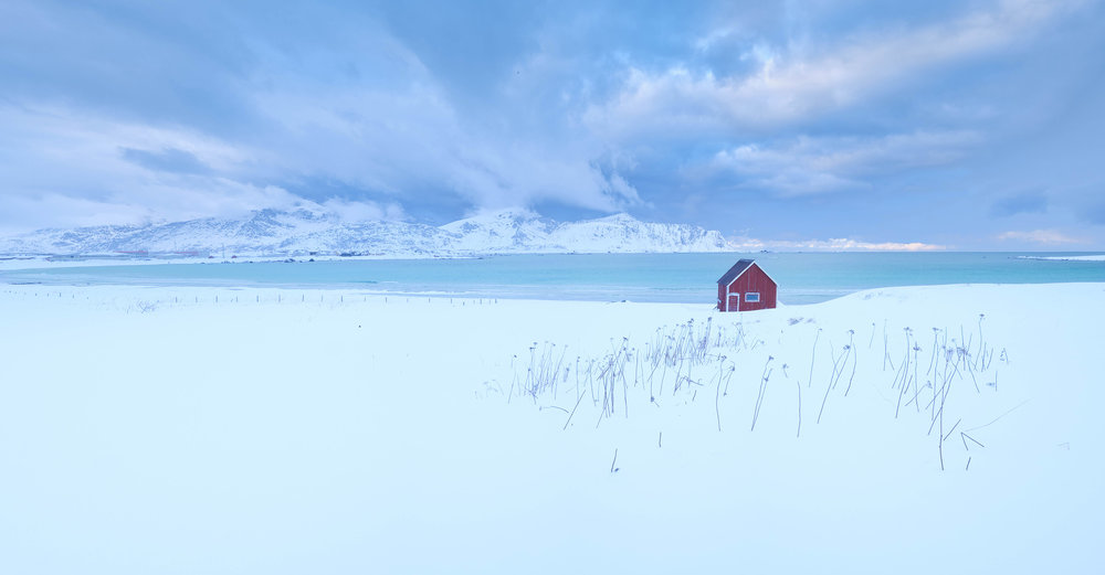 Ramburg   A red fisherman's hut provides a splash of colour against the white snowy landscape of the Lofoten Islands