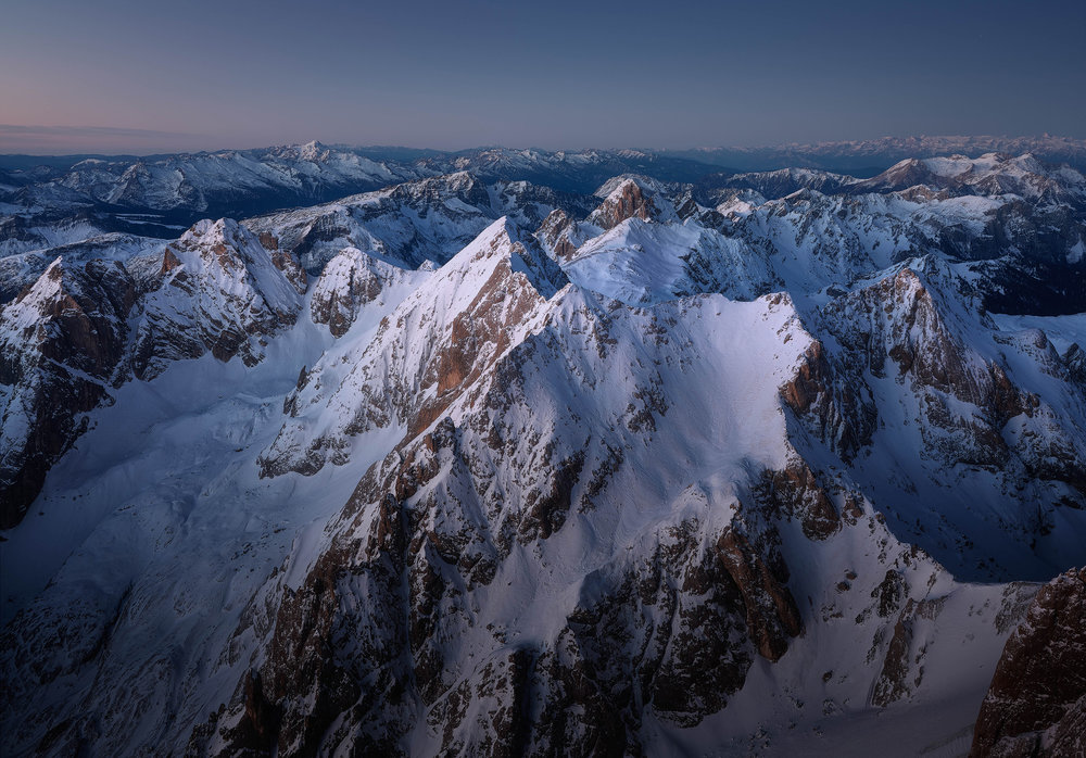 """Marmolada Blue Hour   The snow capped peaks just before dawn, taken from the peak of 3200m Marmolada, the """"Queen of the Dolomites"""""""