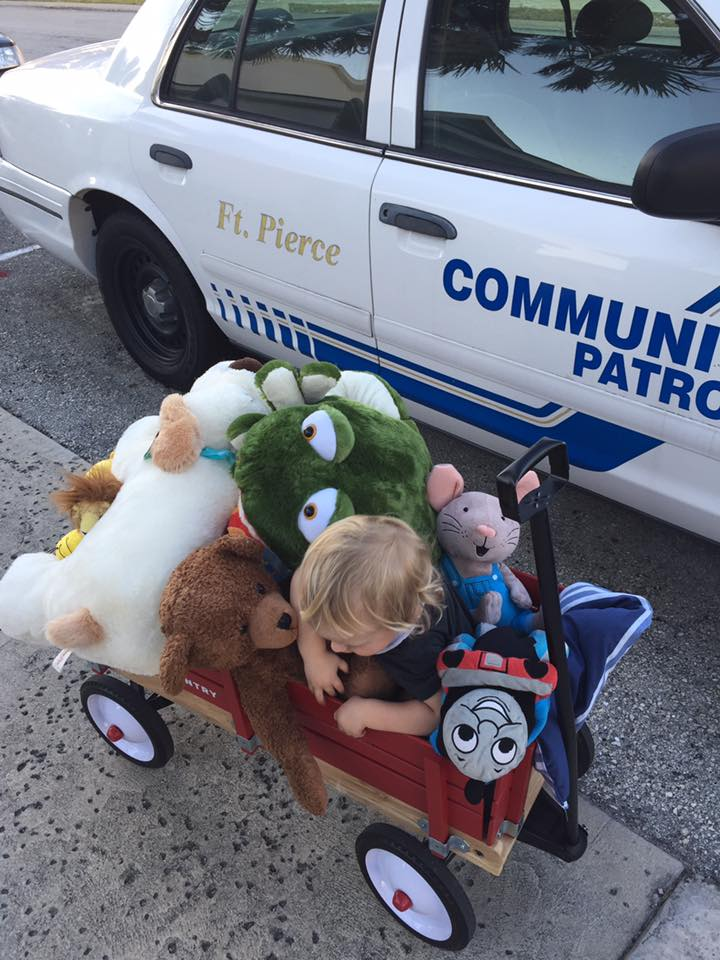 Often time times cops will have scared little kids on the scene and these animals are sure to provide a little comfort.