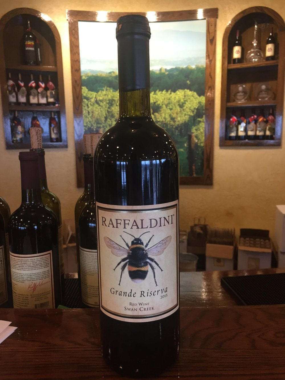 """A bottle of their 2015 Grande Reserva goes for $55. While we didn't get to taste this wine, we loved the story behind it: Because their wings are so small and don't move very fast, bumblebees shouldn't be able to fly...except through sheer determination and will. Much like Raffaldini, with sheer determination and will, they battle the difficult climate of NC to """"fly"""" and produce top-quality wines. (#slowclap #uglycry)"""