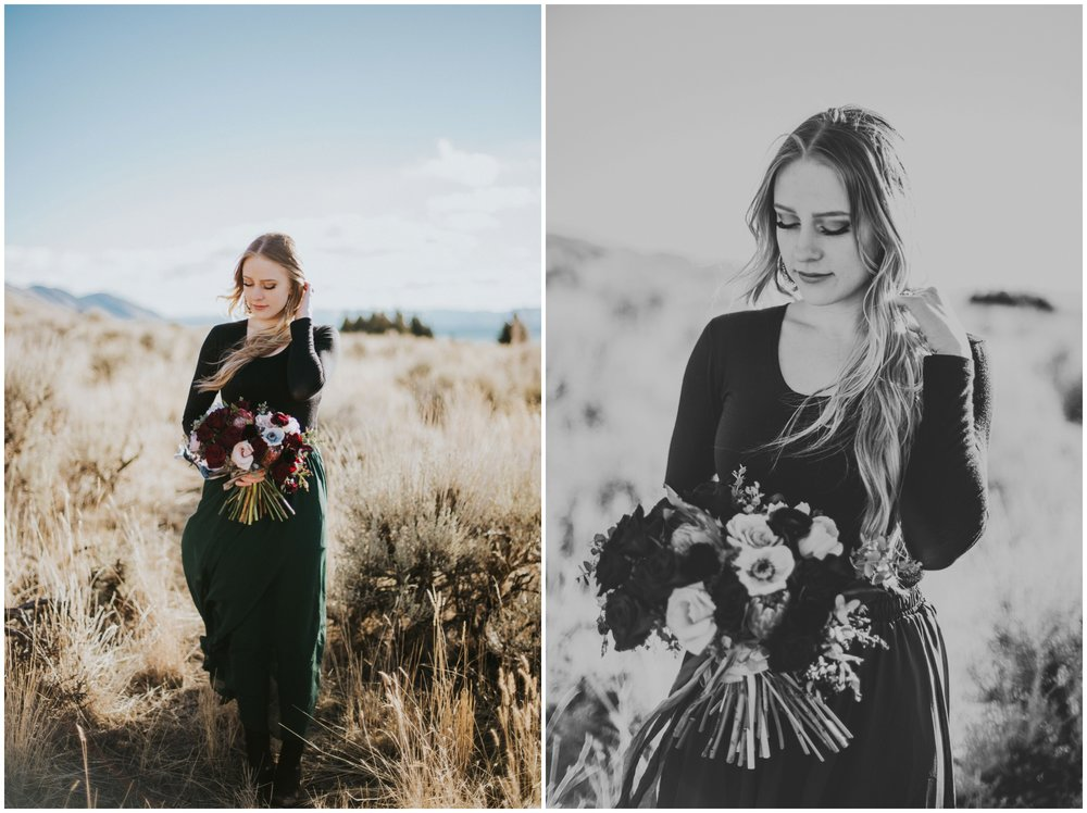 Bridal portraits in the desert, wearing emerald green skirt and rad bouquet  | Wedding Photographer Bear Lake Utah www.riversandroadsphotography.com