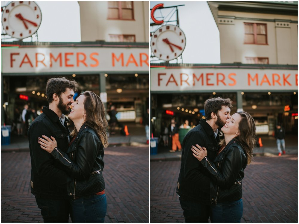 In love couple. Genuinely laughing at Farmers Market  | Seattle Engagement Photographer www.riversandroadsphotography.com