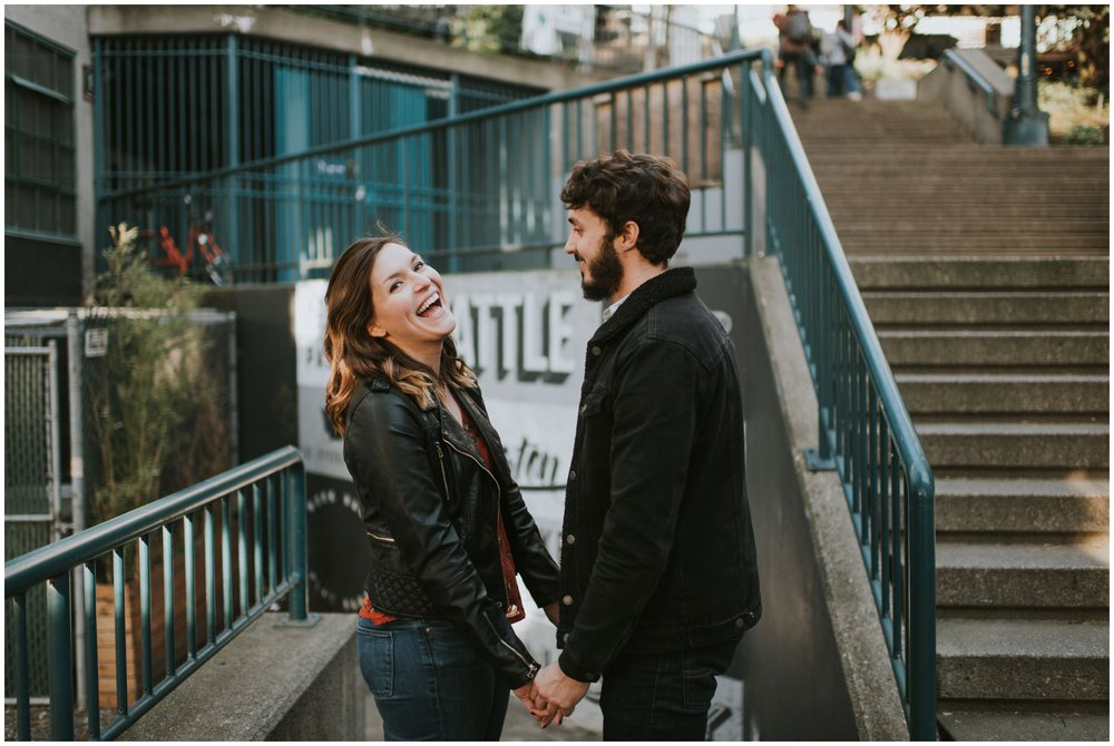 Engagement photos on stairs downtown  | Seattle Engagement Photographer www.riversandroadsphotography.com