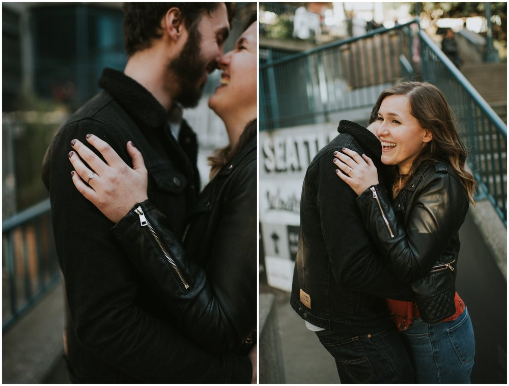 ring shot downtown  | Seattle Engagement Photographer www.riversandroadsphotography.com