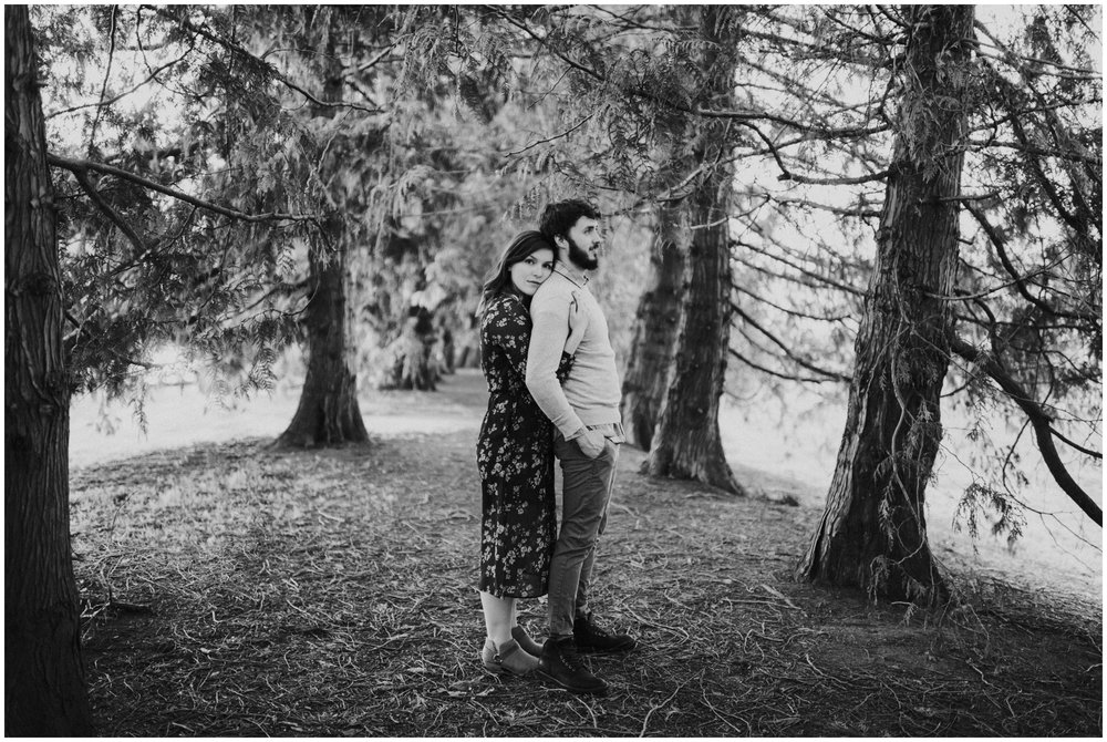 moody black and white couples pose | Seattle Engagement Photographer www.riversandroadsphotography.com