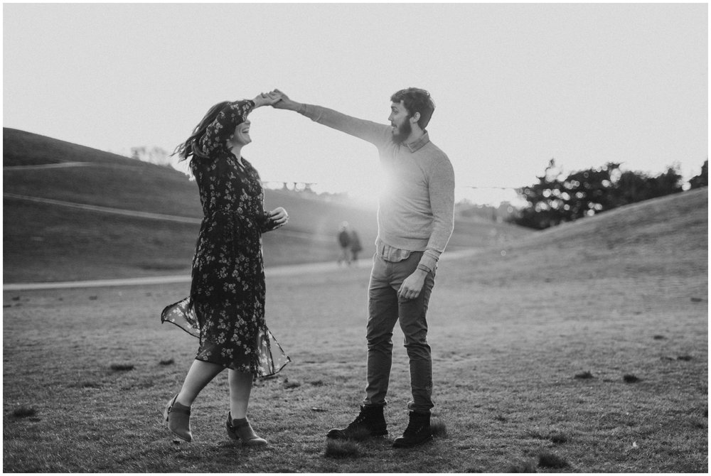 engagement photos dancing at sunset | Seattle Engagement Photographer www.riversandroadsphotography.com
