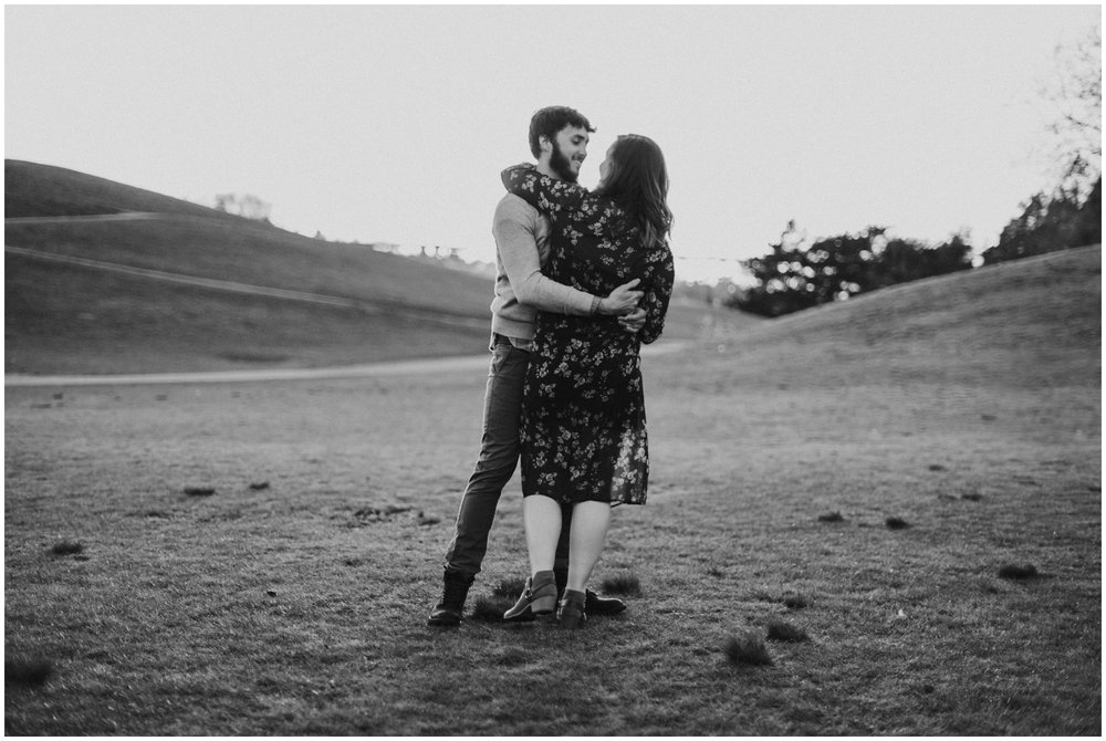 couple dancing in a field at sunset | Seattle Engagement Photographer www.riversandroadsphotography.com