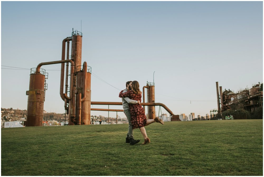 Engaged couple dancing at gas works park | Seattle Engagement Photographer www.riversandroadsphotography.com