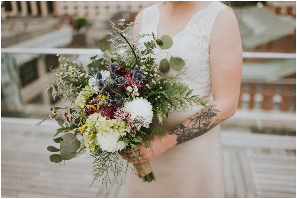 Brides bouquet, tattoo bride, details wedding, downtown roanoke  | www.riversandroadsphotography.com