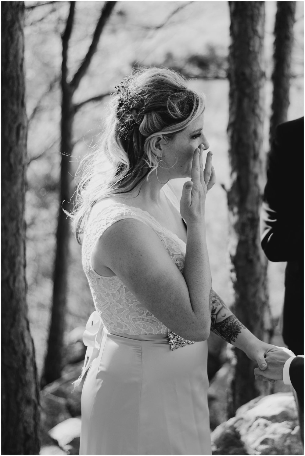 bride wiping away tears after vows | www.riversandroadsphotography.com