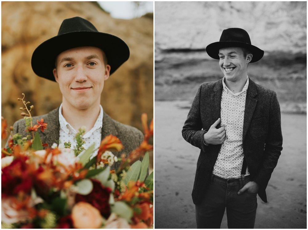 Groom holding bouquet | Oregon Wedding Photographer www.riversandroadsphotography.com