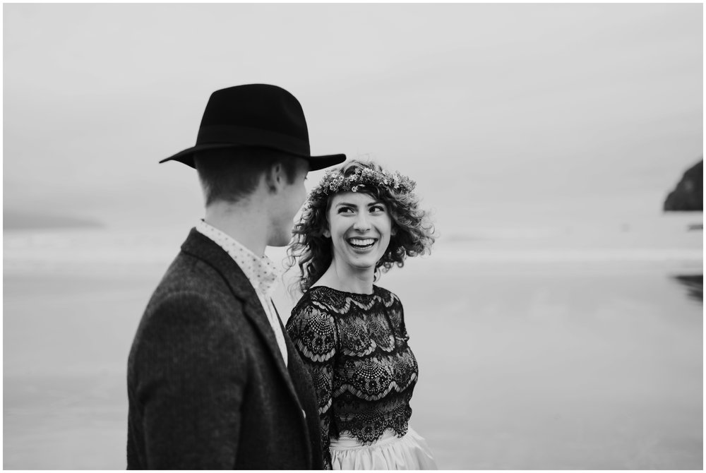 bride laughing at groom  | Pacific City Wedding Photographer www.riversandroadsphotography.com