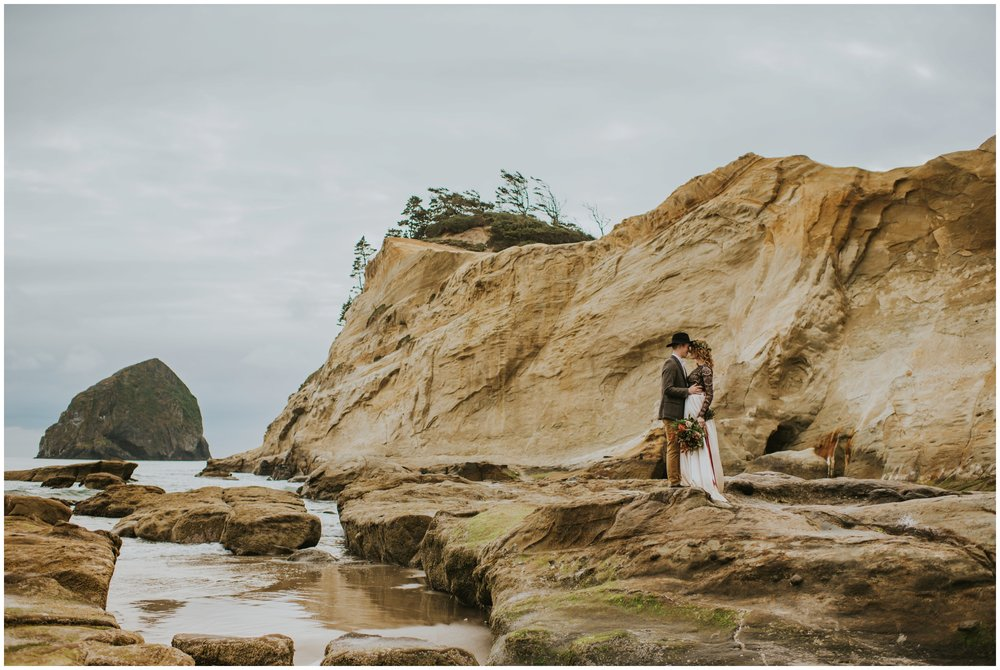 bride and groom portraits at cape kiwanda  | Pacific City Wedding Photographer www.riversandroadsphotography.com