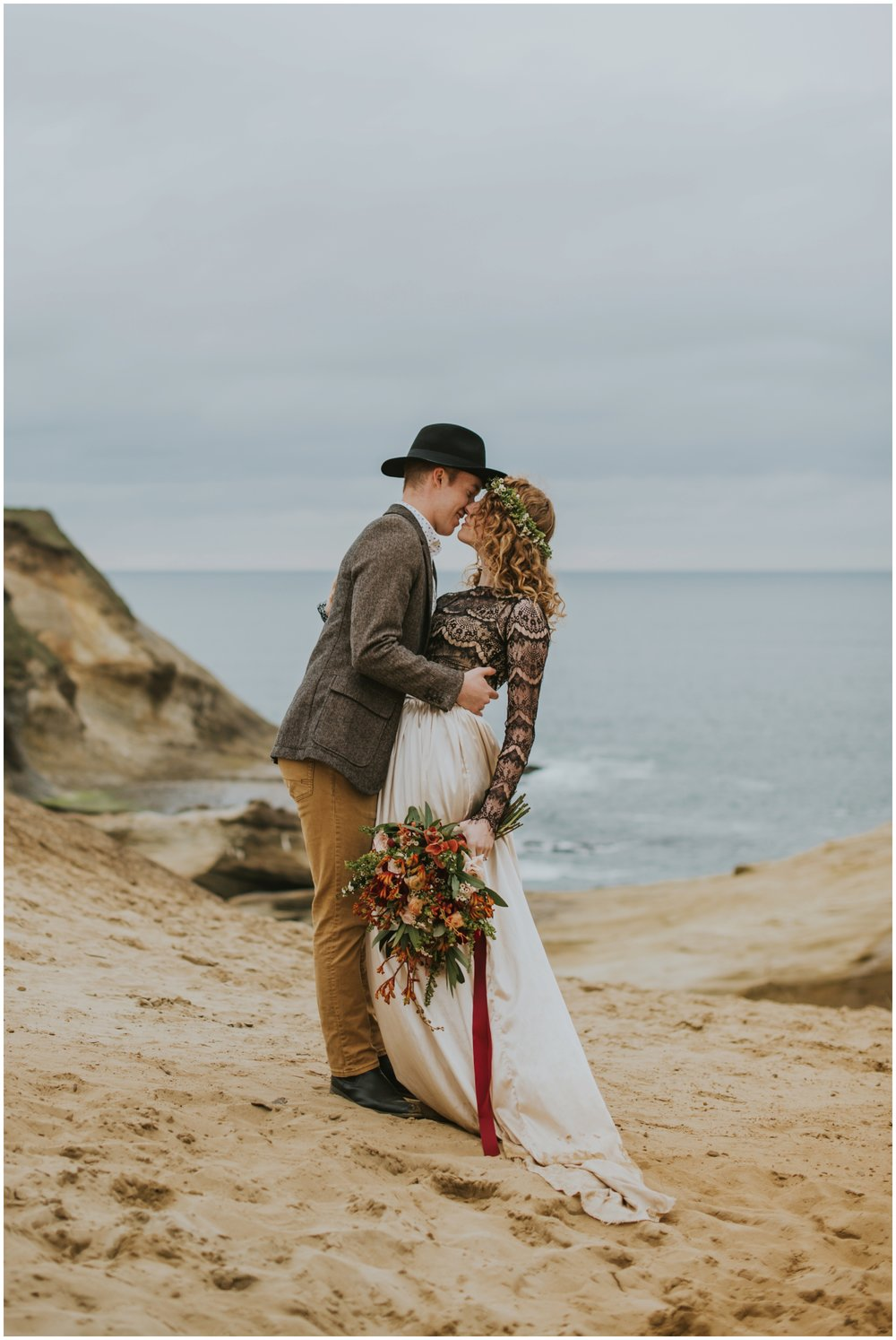 couple almost kissing pose | Pacific City Wedding Photographer www.riversandroadsphotography.com