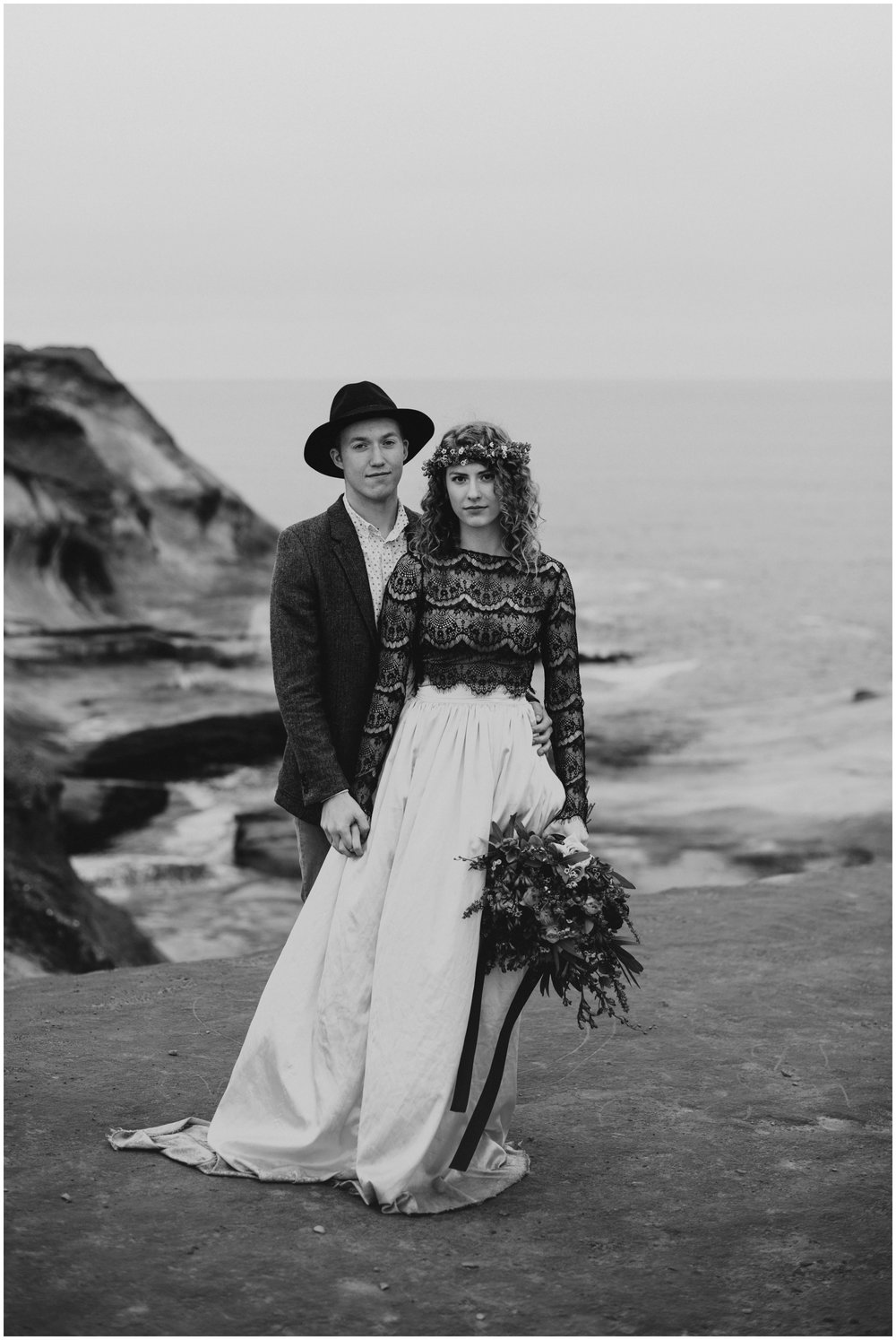 black and white portrait of couple at cape kiwanda  | Pacific City Wedding Photographer www.riversandroadsphotography.com
