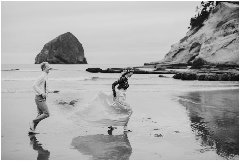 bride and groom running on the beach  | Pacific City Wedding Photographer www.riversandroadsphotography.com