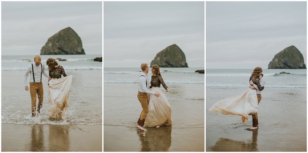 playing in the water, bride and groom, pacific city oregon photographer