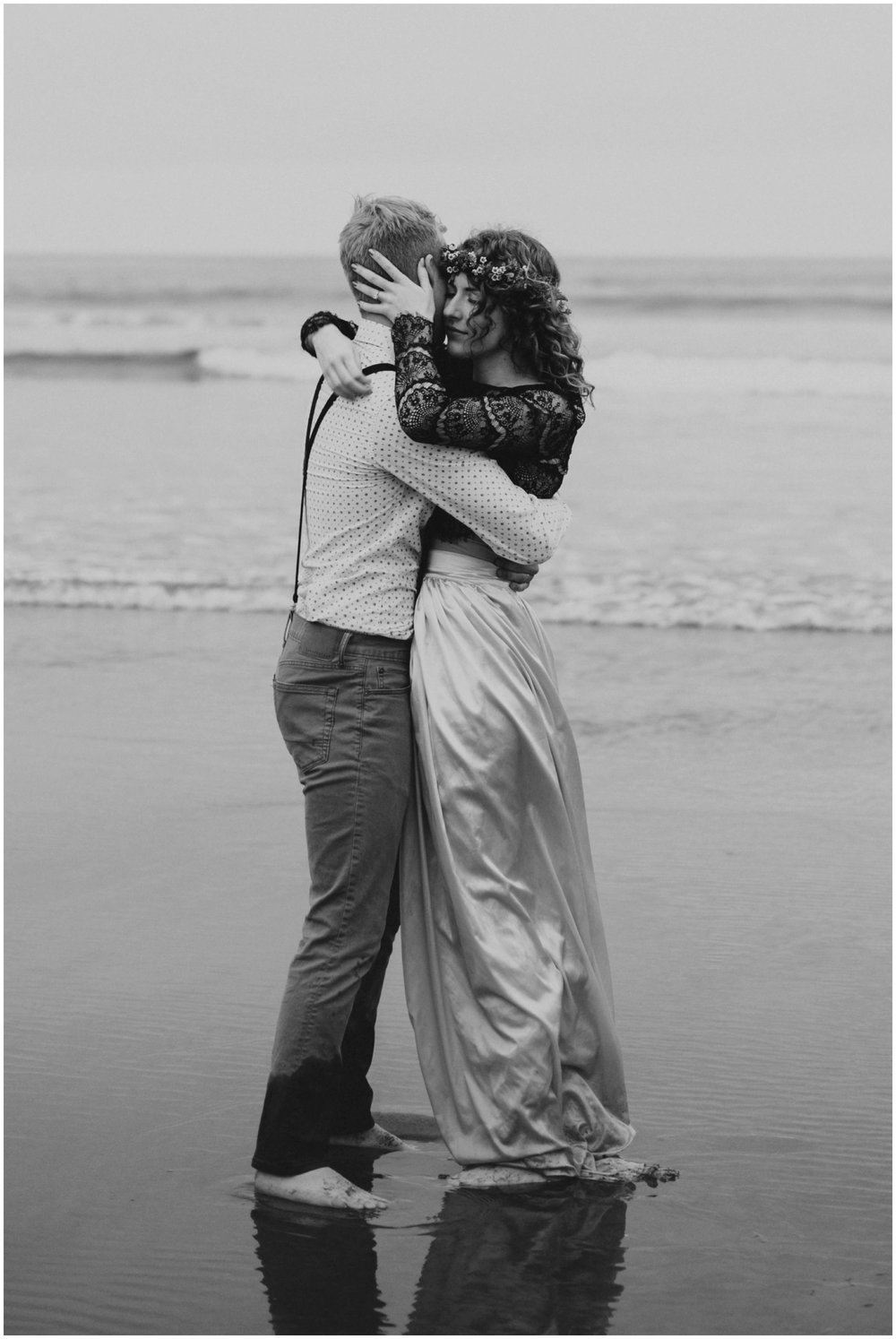 intimate couple portrait in the ocean  | Pacific City Wedding Photographer www.riversandroadsphotography.com
