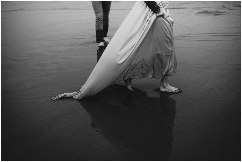 dirty wedding dress | Pacific City Wedding Photographer www.riversandroadsphotography.com