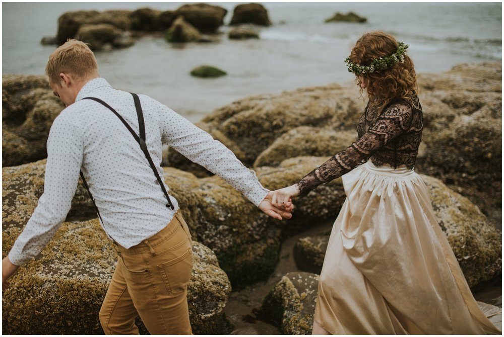 intimate elopement on the beach  | Pacific City Wedding Photographer www.riversandroadsphotography.com