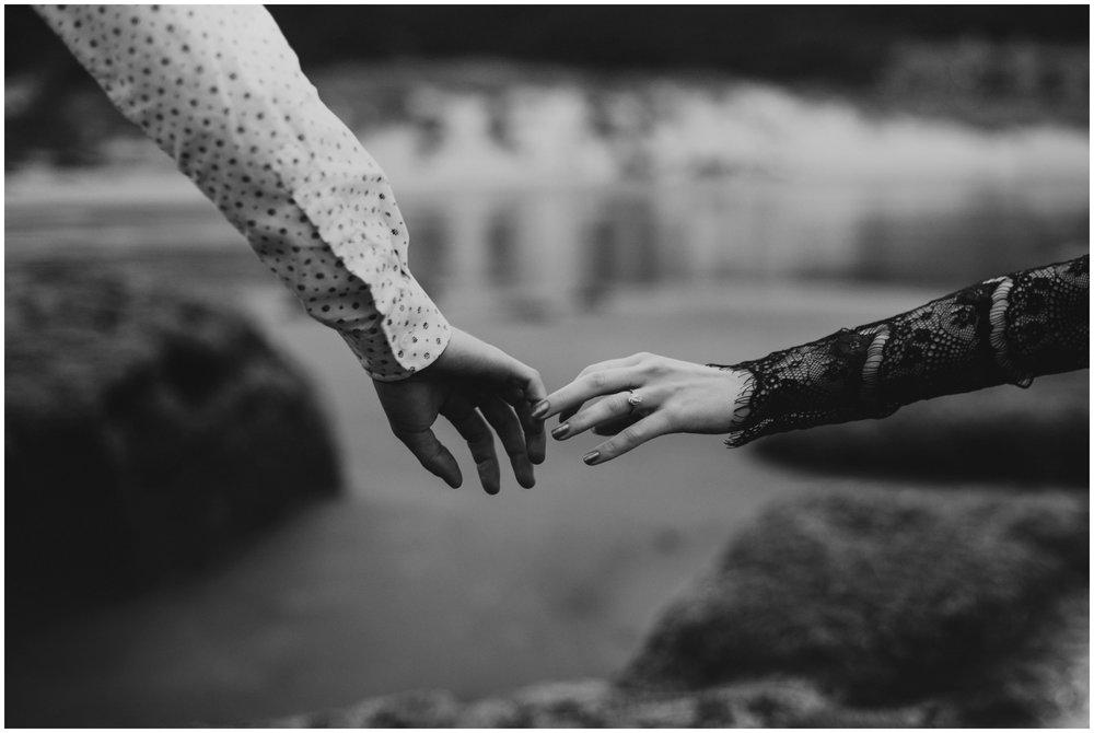 hands reaching, cape kiwanda elopement | Pacific City Wedding Photographer www.riversandroadsphotography.com