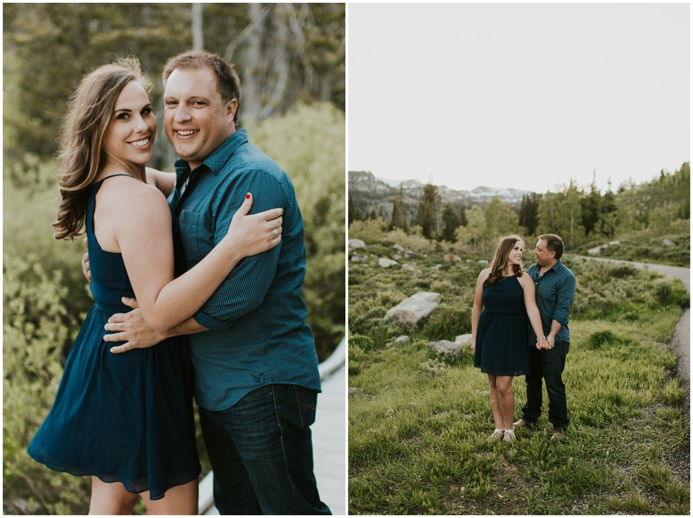 Happy couple during engagement portraits - engagement and wedding photographer Logan, utah