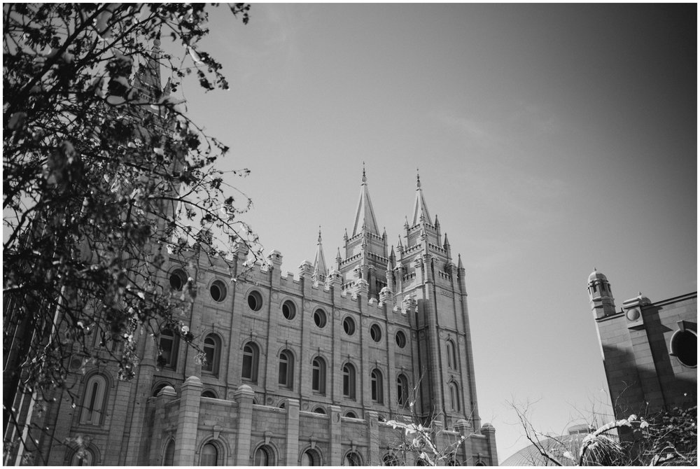 Black and White photo of the Salt Lake City Temple www.riversandroadsphotography.com