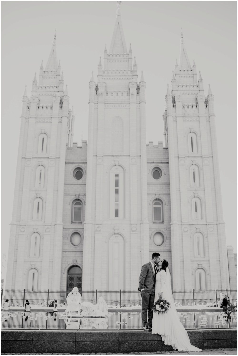 Bride and Groom Portraits at Salt Lake City Temple in Utah www.riversandroadsphotography.com