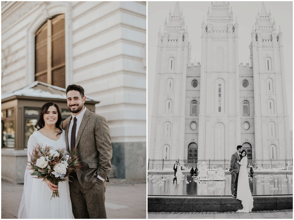 Bride and Groom at the Salt Lake City Temple. Bridal Portraits www.riversandroadsphotography.com