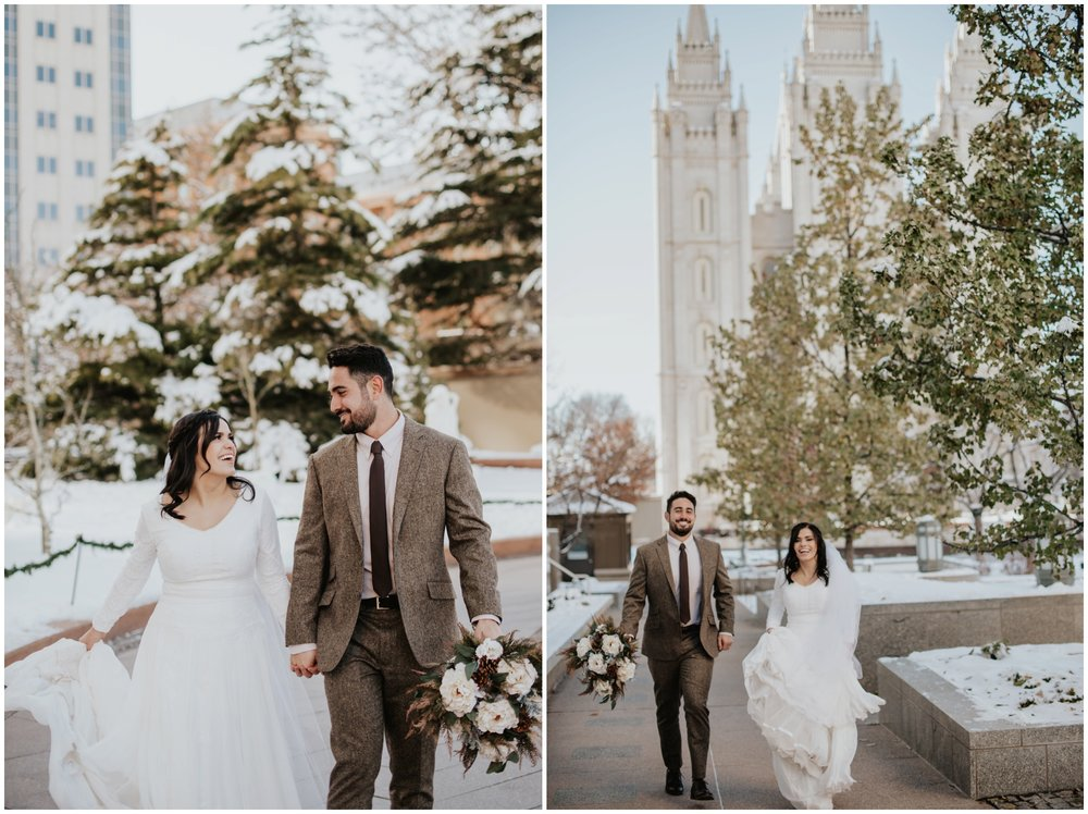 bride and groom walking at the salt lake city temple www.riversandroadsphotography.com