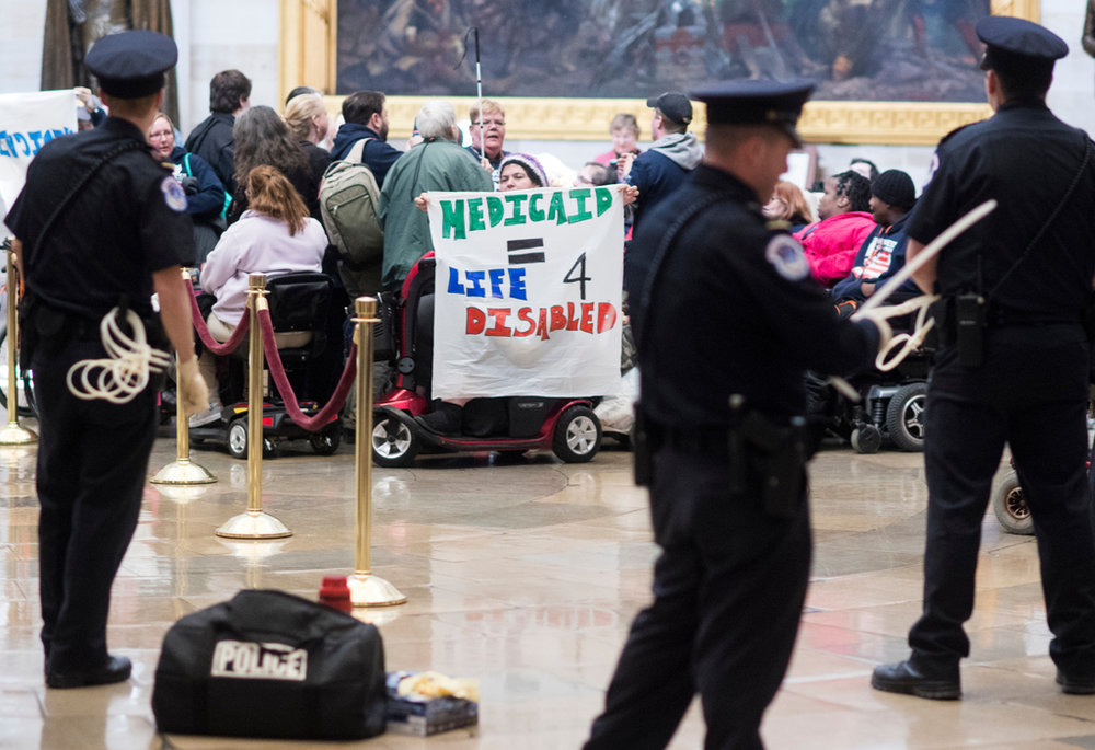 ADAPT Protestors at Capital Rotunda Surrounded by Police
